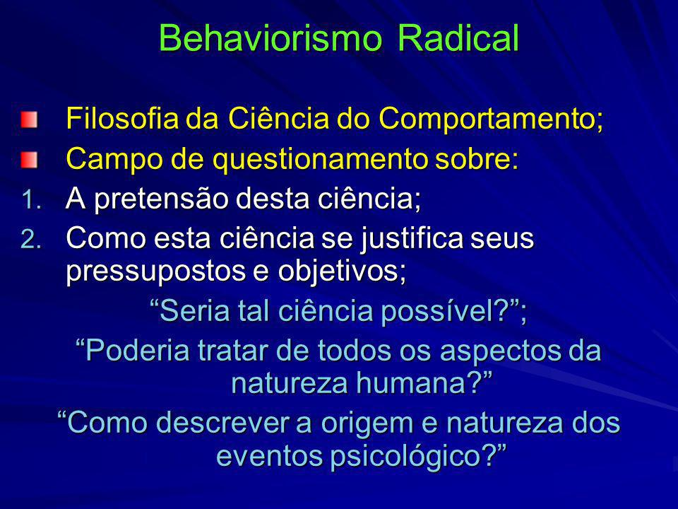 Behaviorismo Radical Filosofia da Ciência do Comportamento;