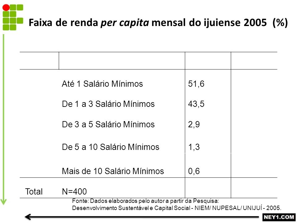 Faixa de renda per capita mensal do ijuiense 2005 (%)