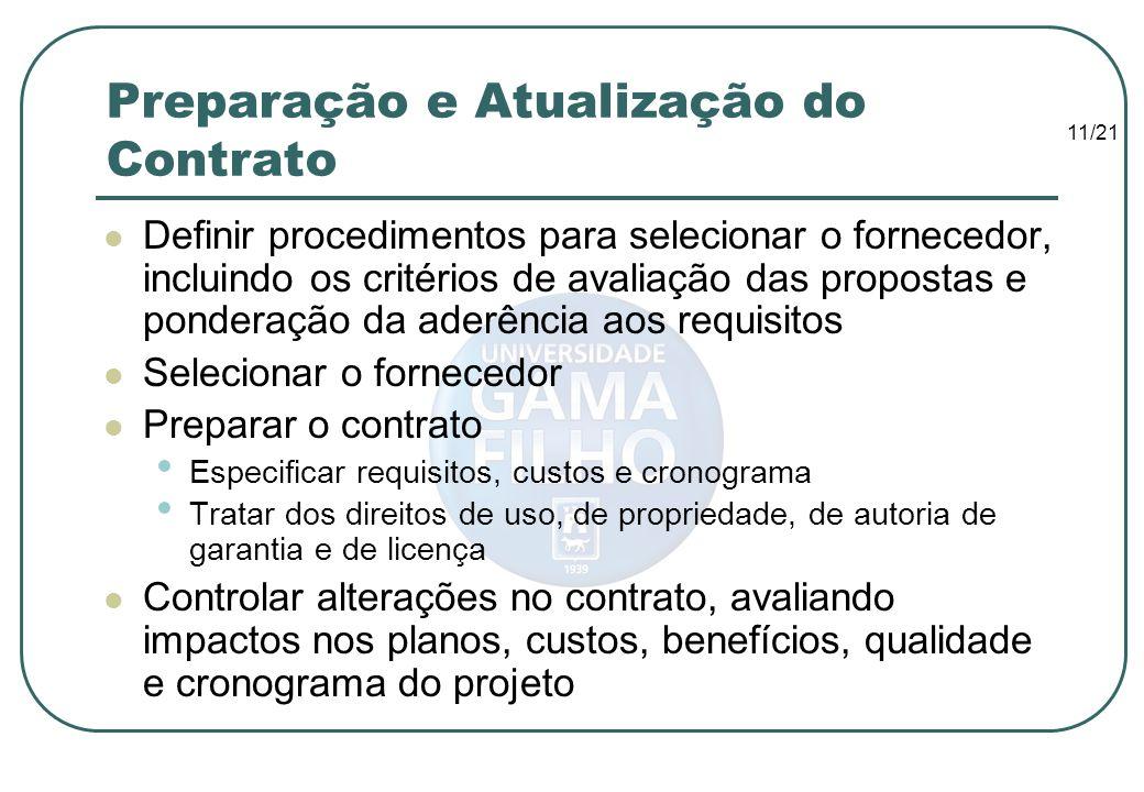 Preparação e Atualização do Contrato