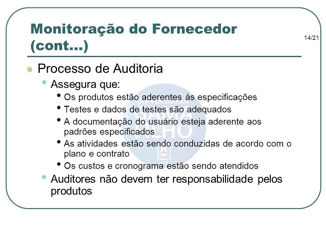 Monitoração do Fornecedor (cont...)