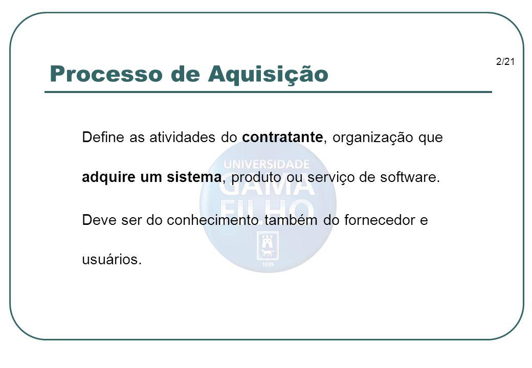 Processo de Aquisição Define as atividades do contratante, organização que adquire um sistema, produto ou serviço de software.