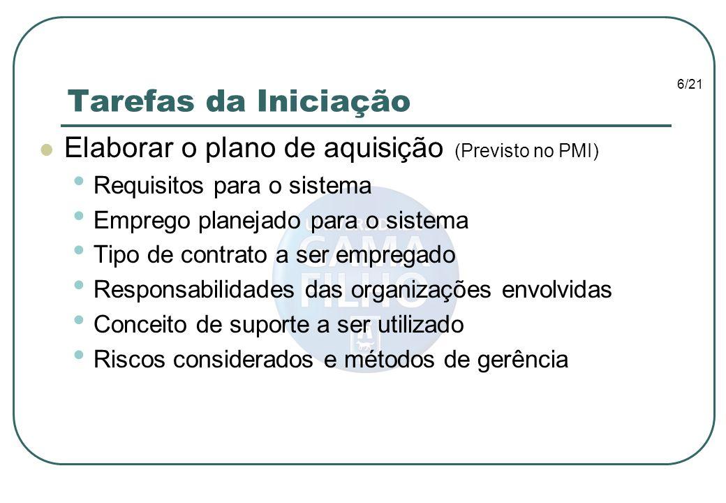 Tarefas da Iniciação Elaborar o plano de aquisição (Previsto no PMI)