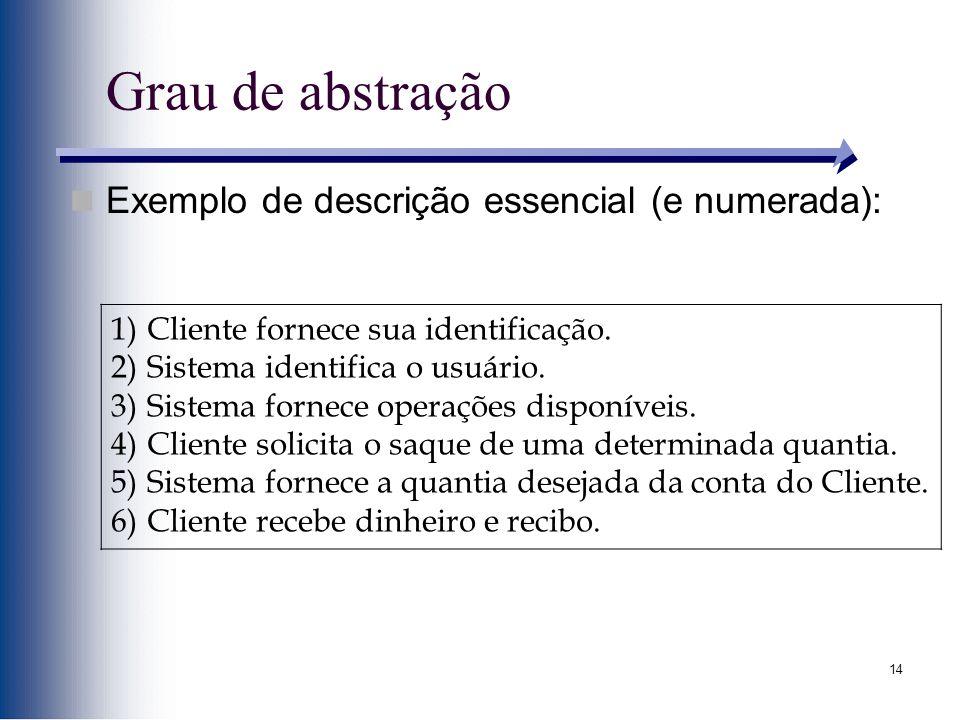 Grau de abstração Exemplo de descrição essencial (e numerada):