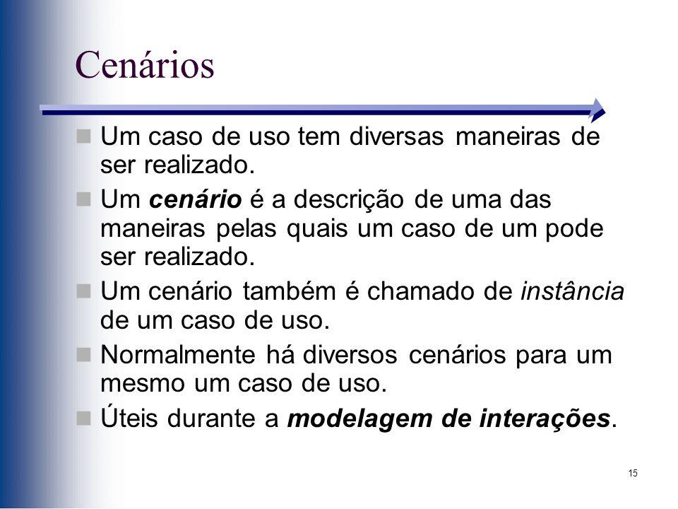 Cenários Um caso de uso tem diversas maneiras de ser realizado.
