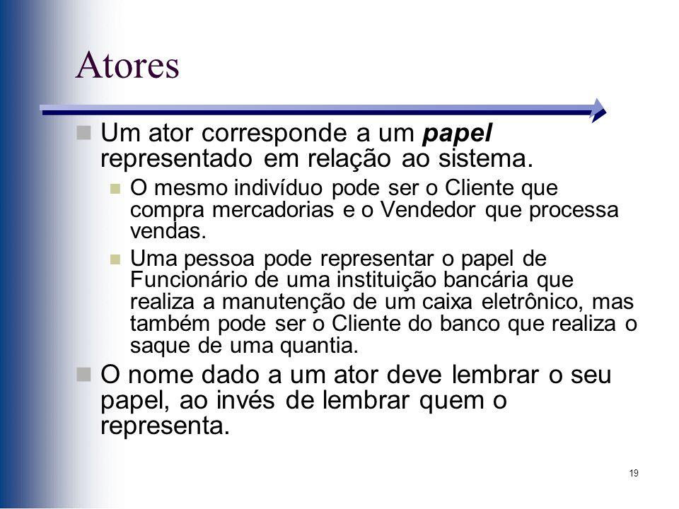 Atores Um ator corresponde a um papel representado em relação ao sistema.
