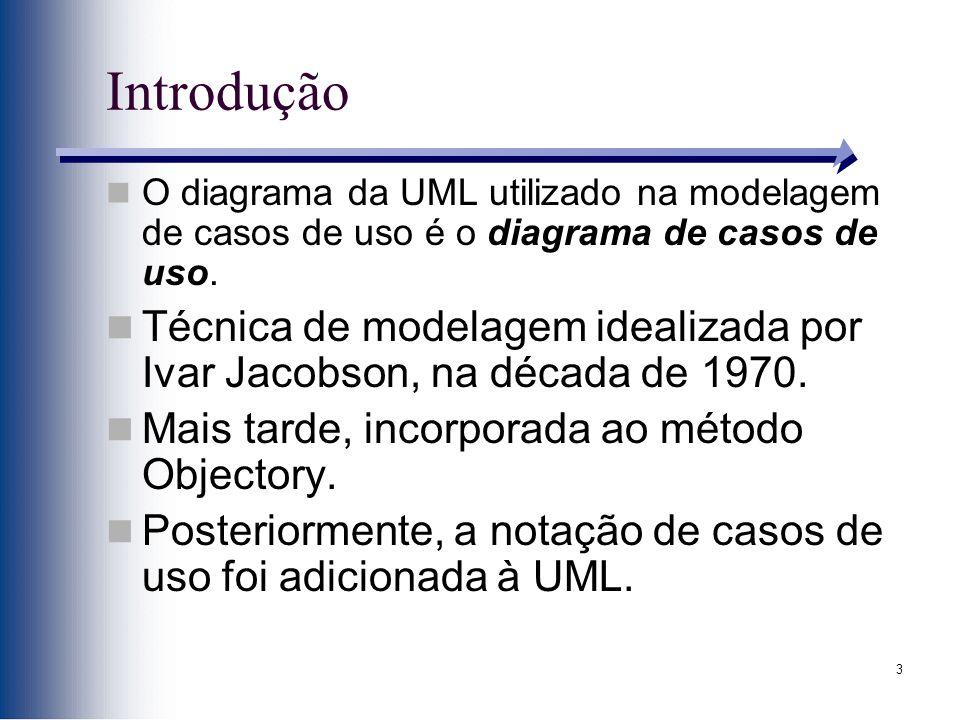 Introdução O diagrama da UML utilizado na modelagem de casos de uso é o diagrama de casos de uso.