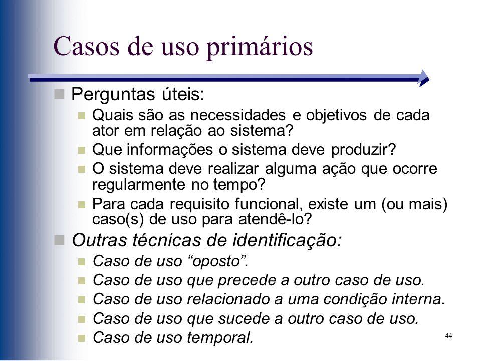 Casos de uso primários Perguntas úteis: