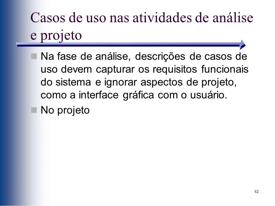 Casos de uso nas atividades de análise e projeto