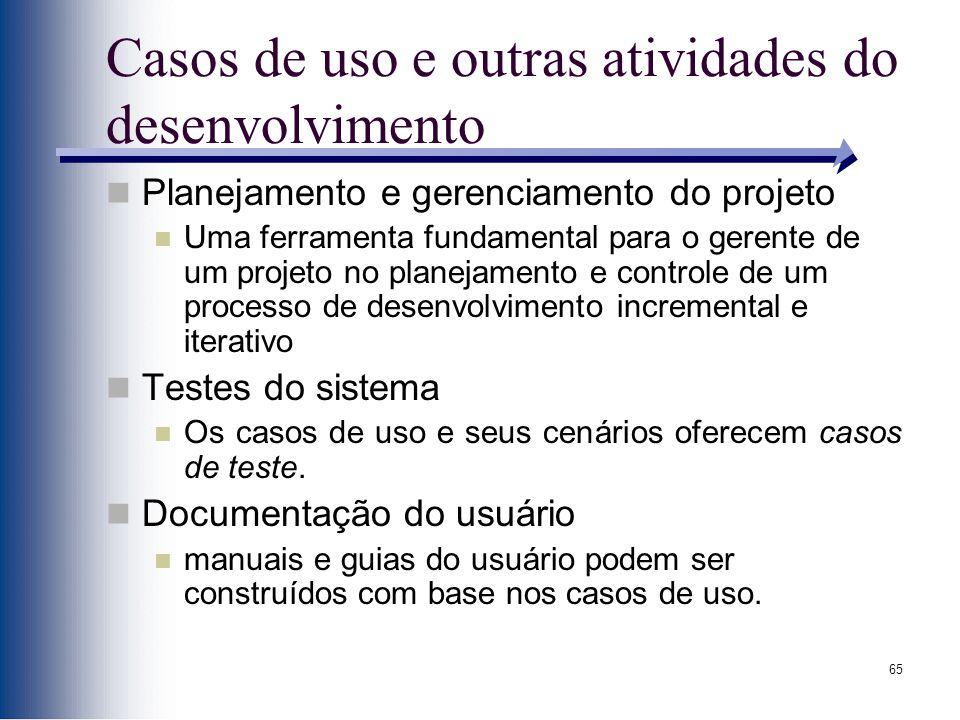 Casos de uso e outras atividades do desenvolvimento