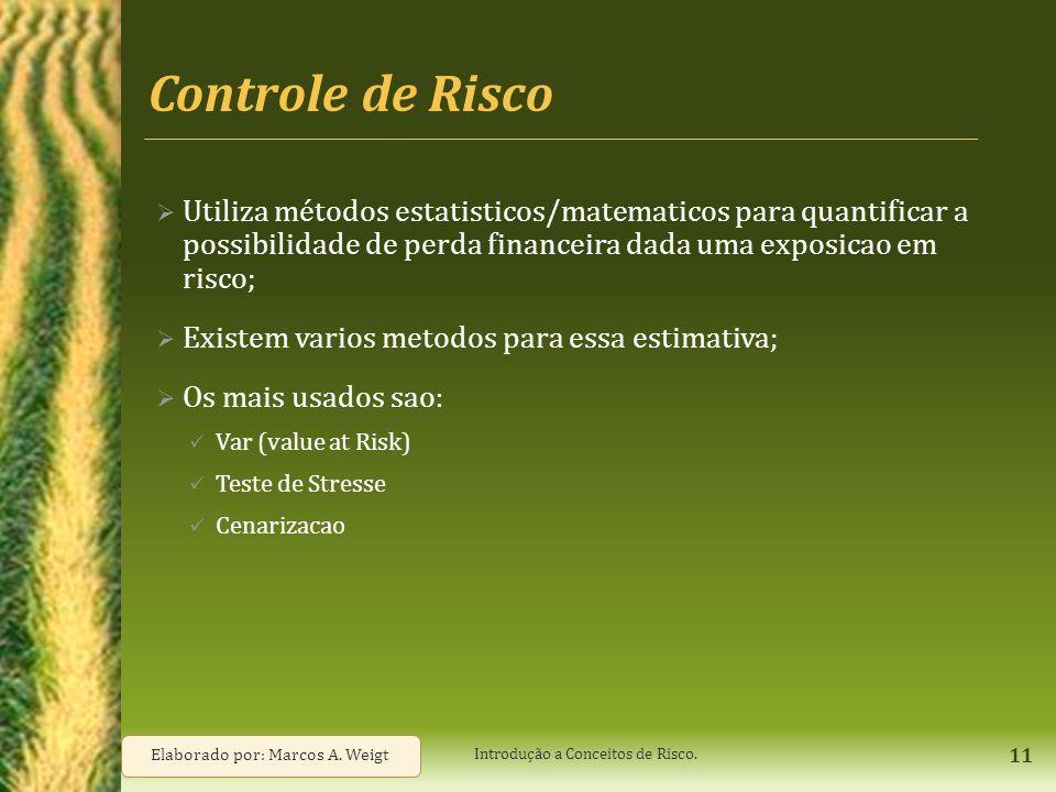 Controle de Risco Utiliza métodos estatisticos/matematicos para quantificar a possibilidade de perda financeira dada uma exposicao em risco;