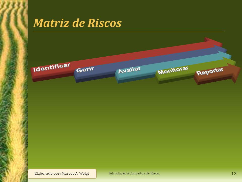 Matriz de Riscos Identificar Gerir Avaliar Monitorar Reportar