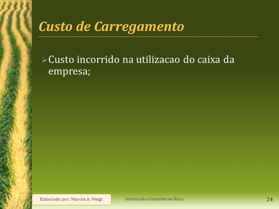 Custo de Carregamento Custo incorrido na utilizacao do caixa da empresa; Elaborado por: Marcos A. Weigt.