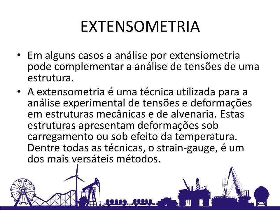 EXTENSOMETRIA Em alguns casos a análise por extensiometria pode complementar a análise de tensões de uma estrutura.