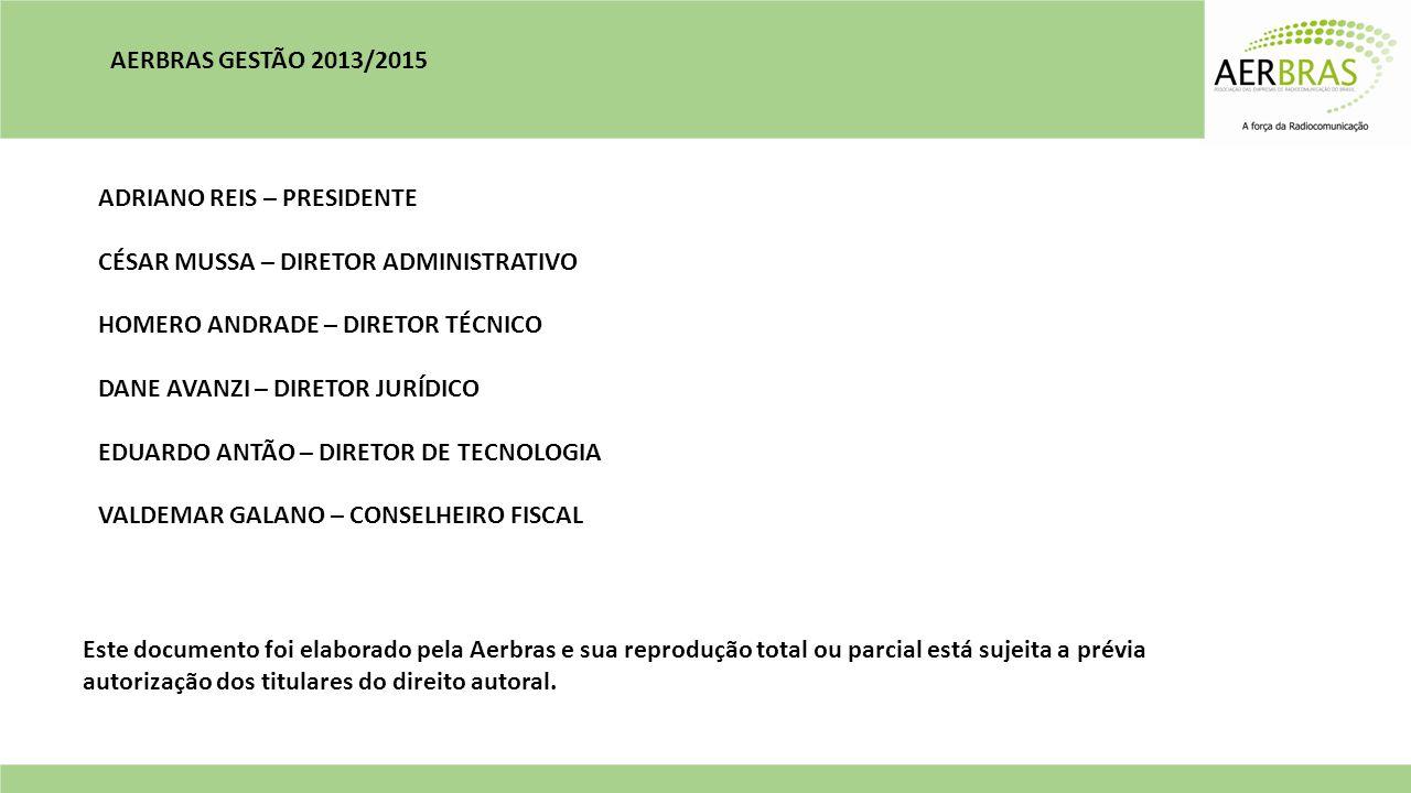 AERBRAS GESTÃO 2013/2015 ADRIANO REIS – PRESIDENTE. CÉSAR MUSSA – DIRETOR ADMINISTRATIVO. HOMERO ANDRADE – DIRETOR TÉCNICO.