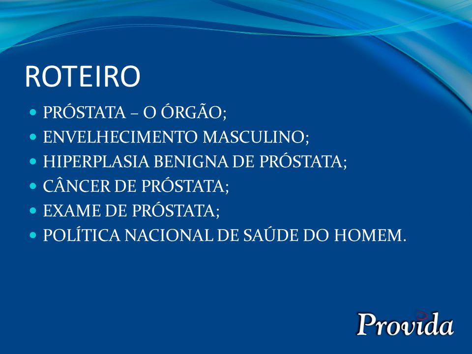 ROTEIRO PRÓSTATA – O ÓRGÃO; ENVELHECIMENTO MASCULINO;