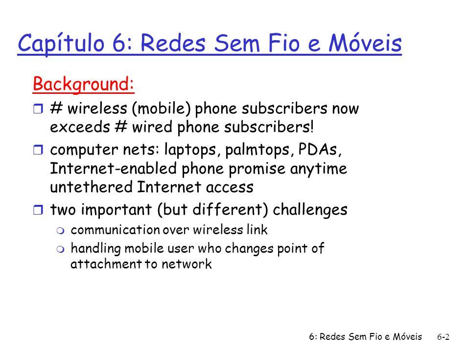 Capítulo 6: Redes Sem Fio e Móveis