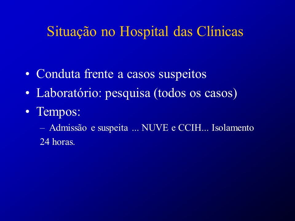 Situação no Hospital das Clínicas