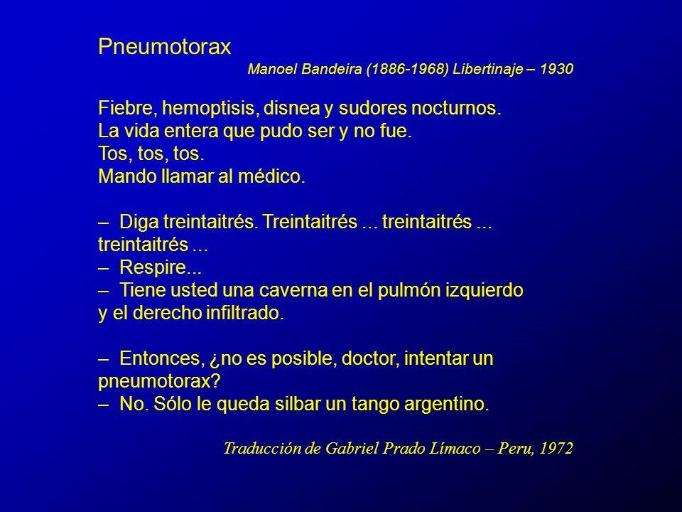 Pneumotorax Manoel Bandeira (1886-1968) Libertinaje – 1930.