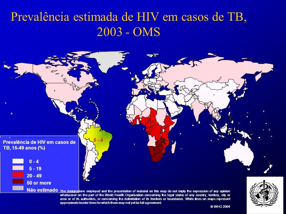 Prevalência estimada de HIV em casos de TB, 2003 - OMS