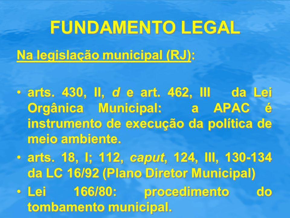 FUNDAMENTO LEGAL Na legislação municipal (RJ):
