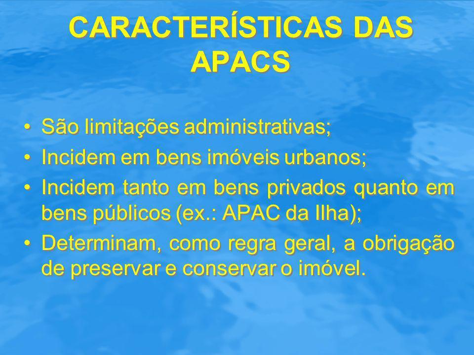 CARACTERÍSTICAS DAS APACS