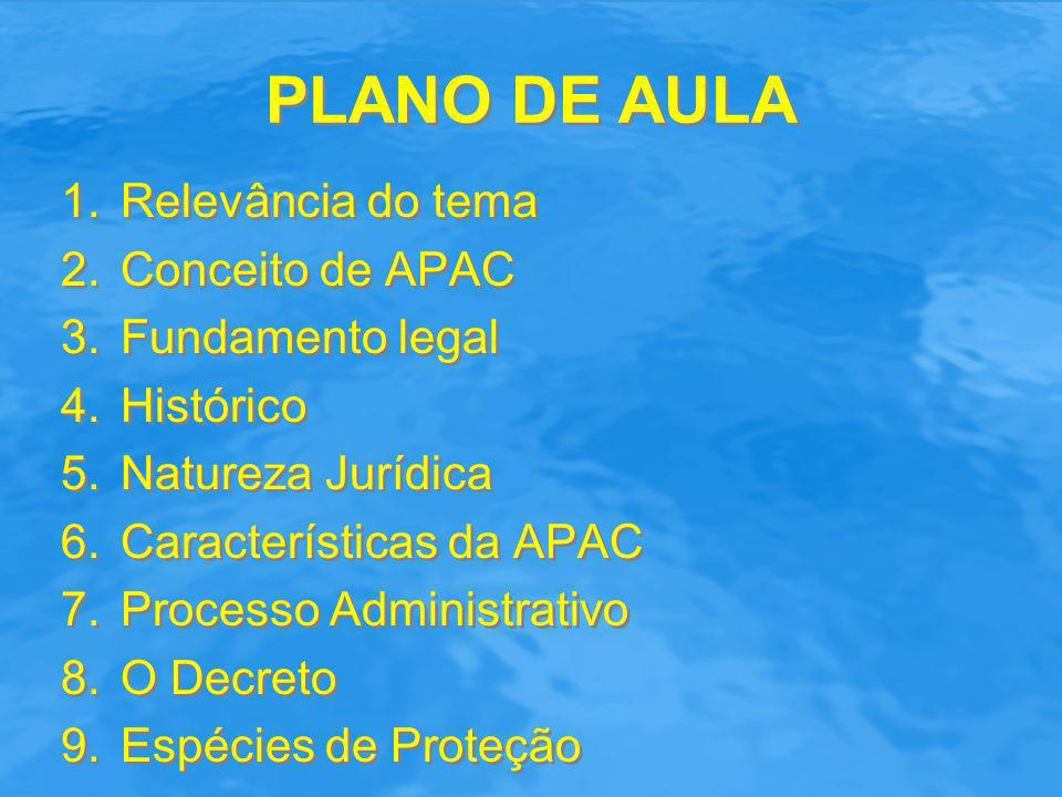 PLANO DE AULA Relevância do tema Conceito de APAC Fundamento legal