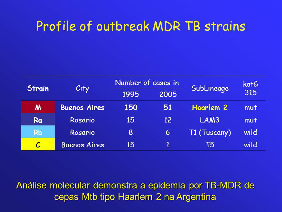 Profile of outbreak MDR TB strains