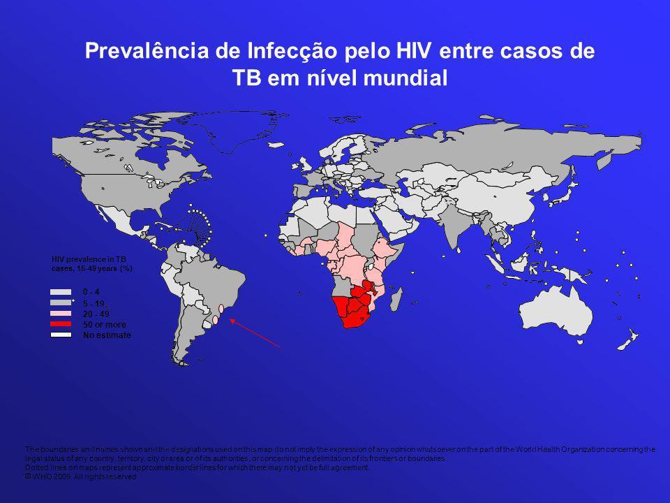 Prevalência de Infecção pelo HIV entre casos de TB em nível mundial