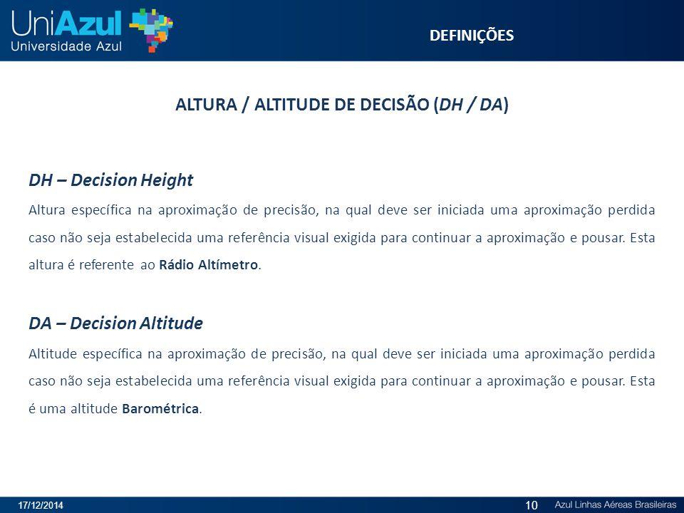 ALTURA / ALTITUDE DE DECISÃO (DH / DA)