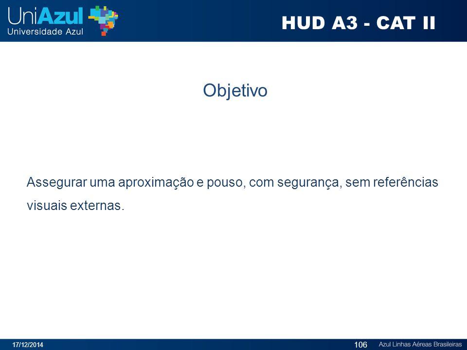 HUD A3 - CAT II Objetivo. Assegurar uma aproximação e pouso, com segurança, sem referências visuais externas.