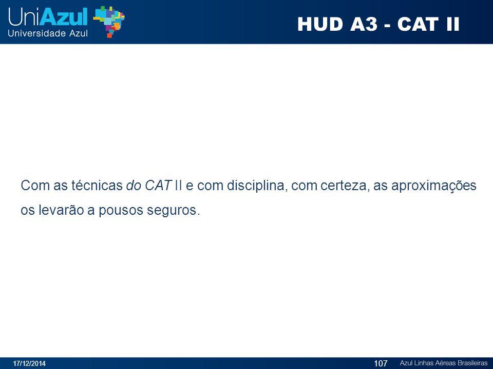 HUD A3 - CAT II Com as técnicas do CAT II e com disciplina, com certeza, as aproximações os levarão a pousos seguros.