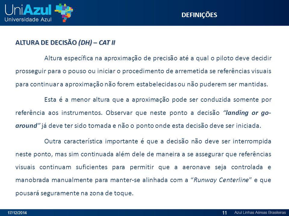 ALTURA DE DECISÃO (DH) – CAT II