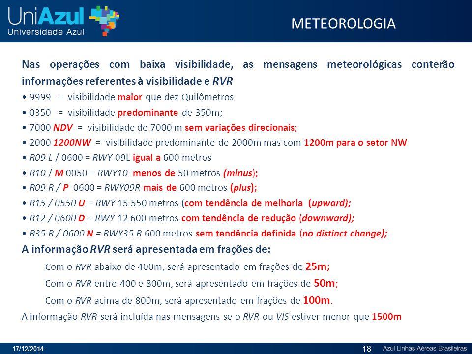 METEOROLOGIA Nas operações com baixa visibilidade, as mensagens meteorológicas conterão informações referentes à visibilidade e RVR.