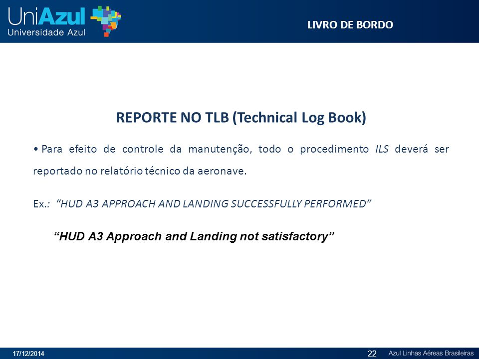 REPORTE NO TLB (Technical Log Book)