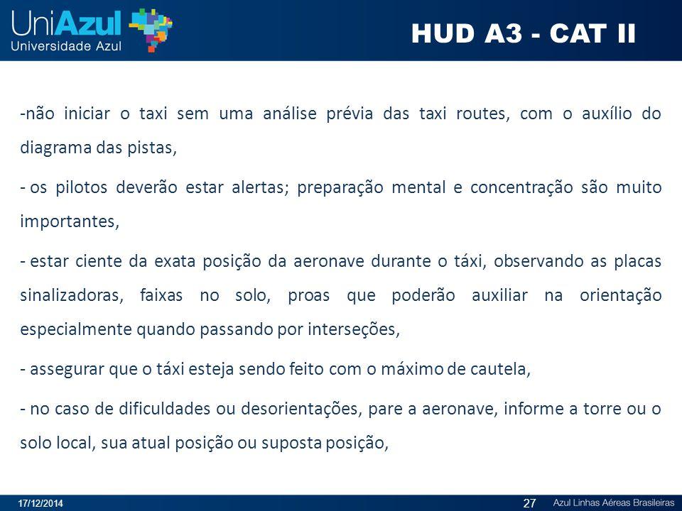 HUD A3 - CAT II não iniciar o taxi sem uma análise prévia das taxi routes, com o auxílio do diagrama das pistas,
