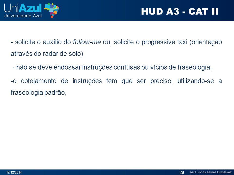 HUD A3 - CAT II - solicite o auxílio do follow-me ou, solicite o progressive taxi (orientação através do radar de solo)