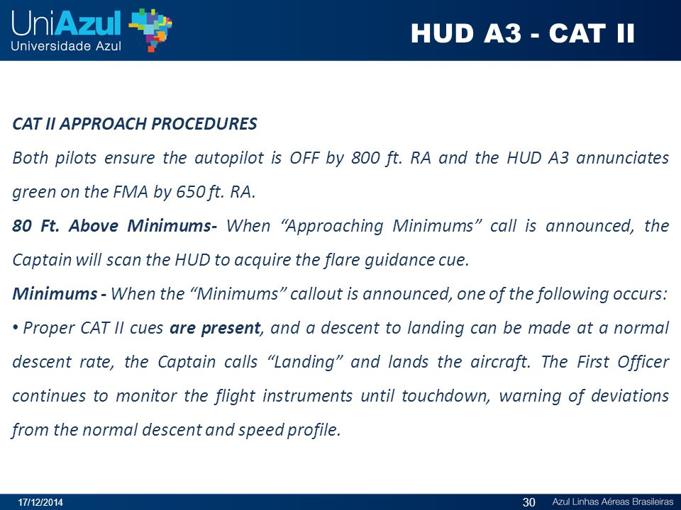 HUD A3 - CAT II CAT II APPROACH PROCEDURES