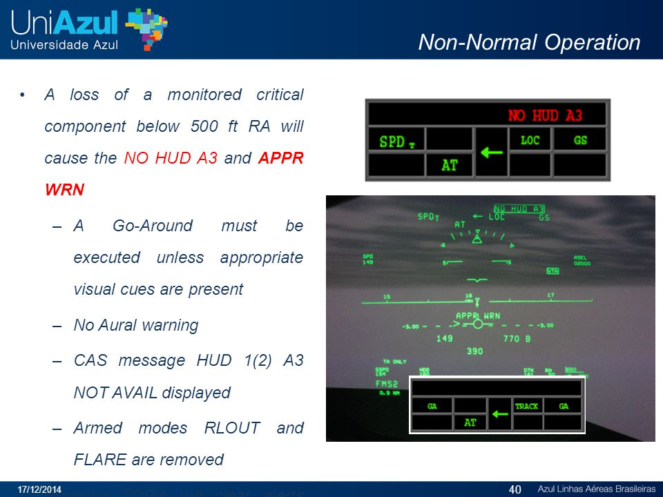 Non-Normal Operation A loss of a monitored critical component below 500 ft RA will cause the NO HUD A3 and APPR WRN.