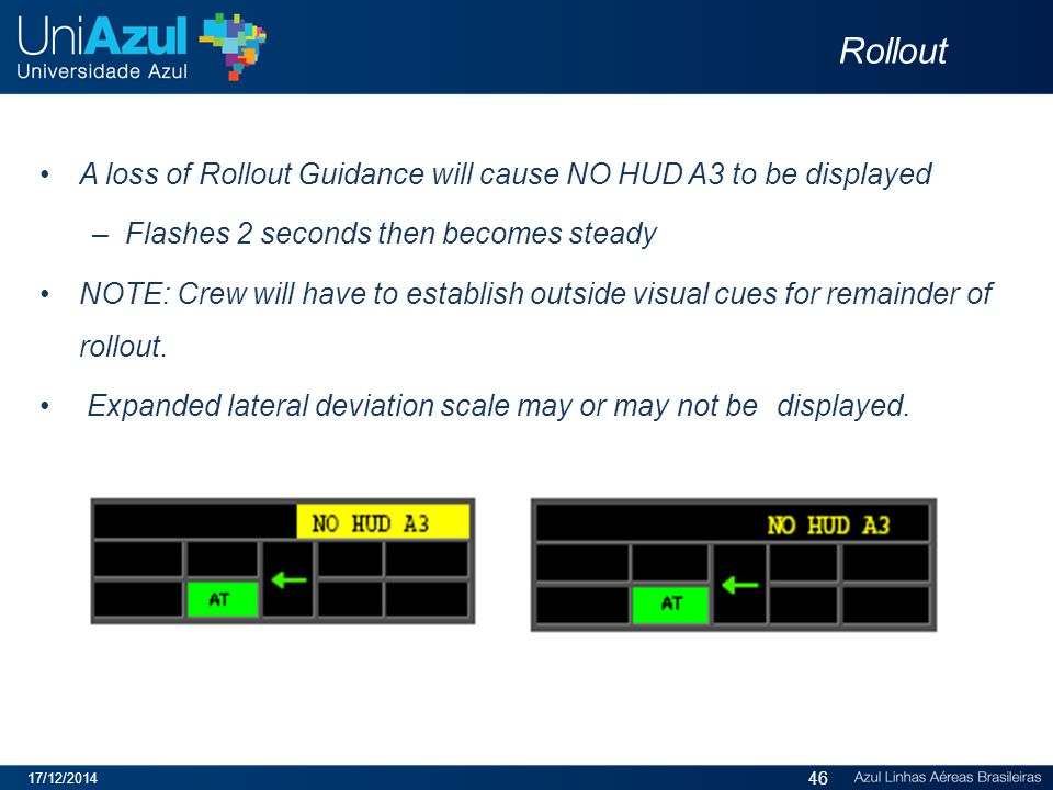 Rollout A loss of Rollout Guidance will cause NO HUD A3 to be displayed. Flashes 2 seconds then becomes steady.