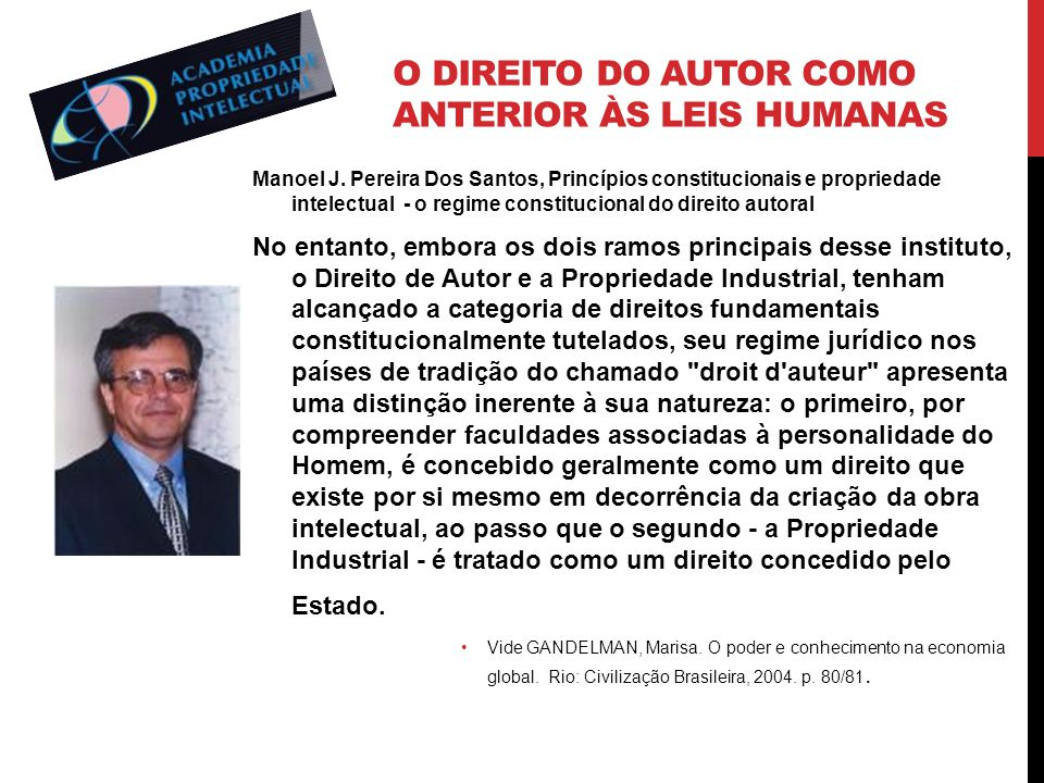 O direito do autor como anterior às leis humanas