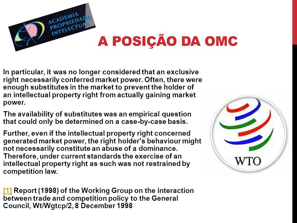 A POSIÇÃO DA OMC