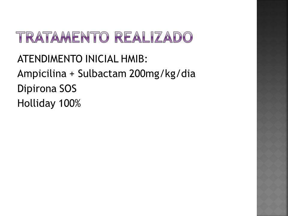Tratamento realizado ATENDIMENTO INICIAL HMIB: Ampicilina + Sulbactam 200mg/kg/dia Dipirona SOS Holliday 100%