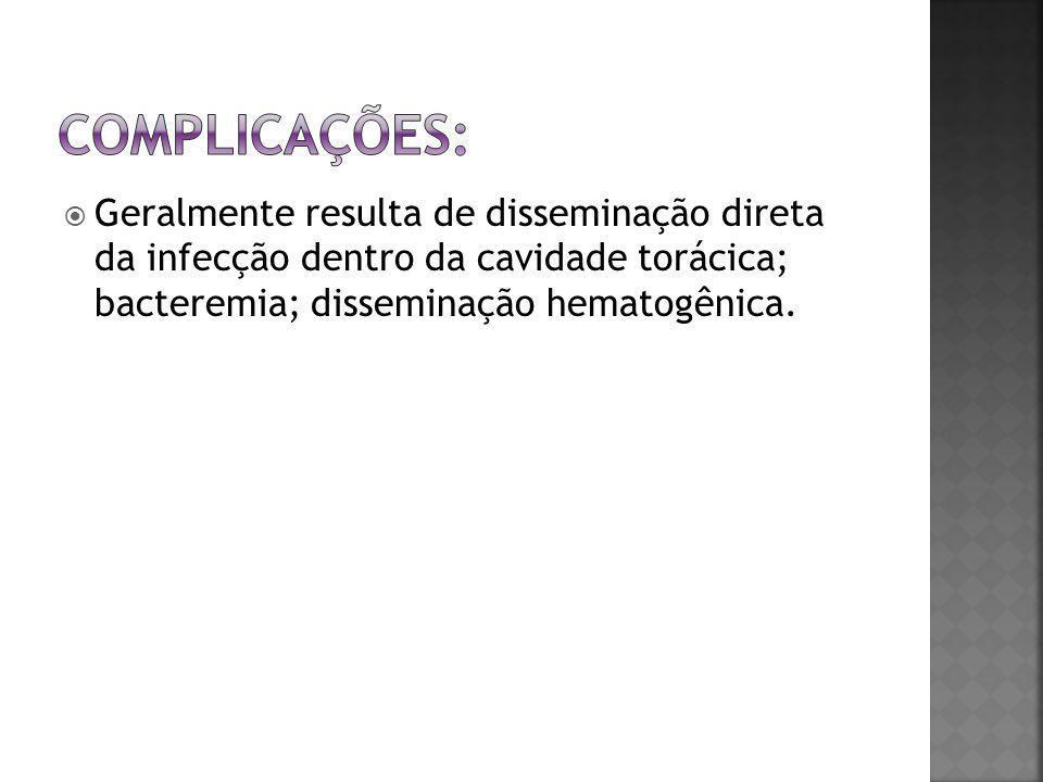 Complicações: Geralmente resulta de disseminação direta da infecção dentro da cavidade torácica; bacteremia; disseminação hematogênica.