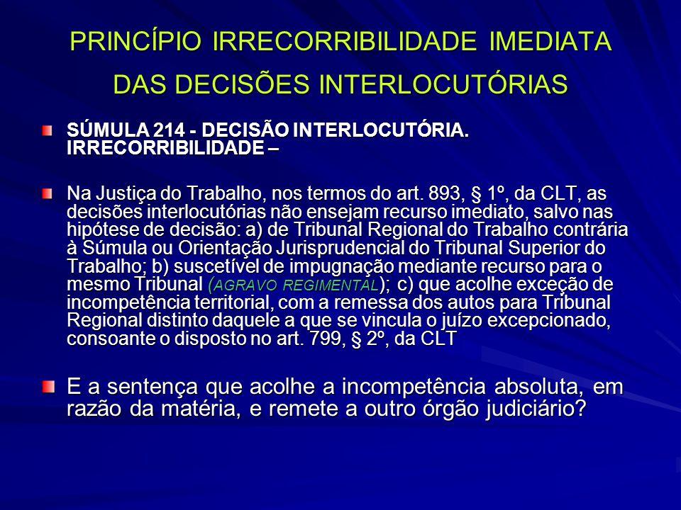 PRINCÍPIO IRRECORRIBILIDADE IMEDIATA DAS DECISÕES INTERLOCUTÓRIAS