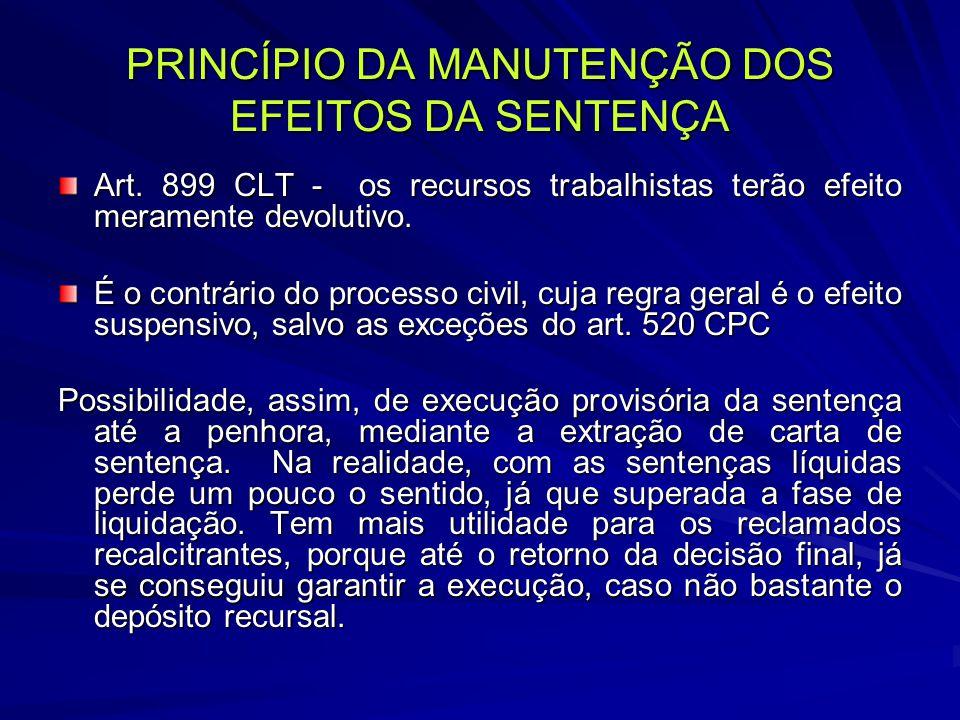 PRINCÍPIO DA MANUTENÇÃO DOS EFEITOS DA SENTENÇA