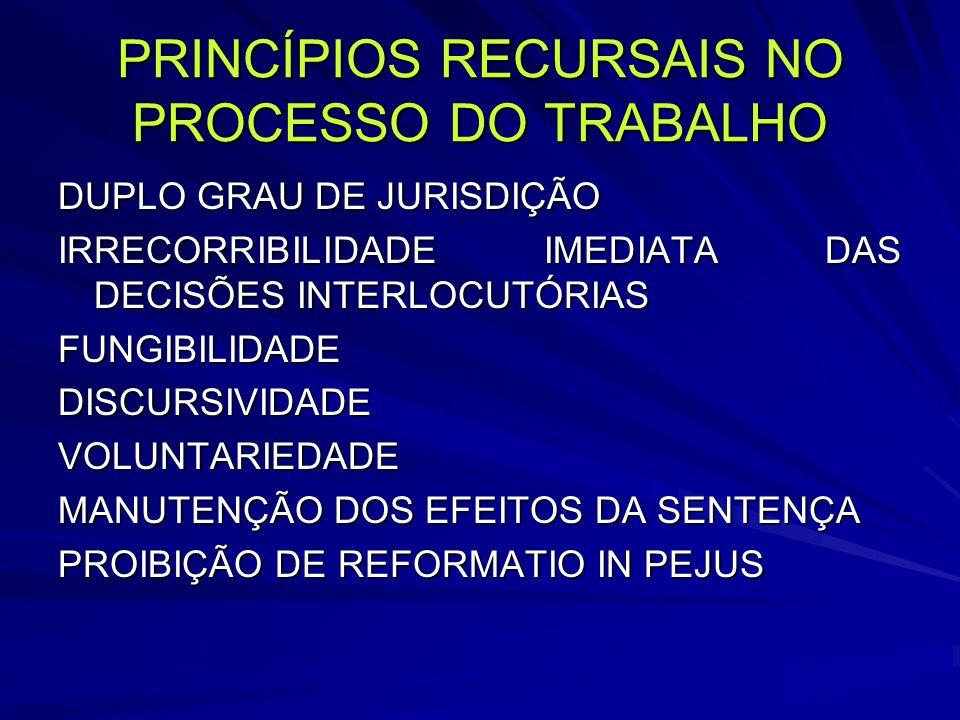 PRINCÍPIOS RECURSAIS NO PROCESSO DO TRABALHO