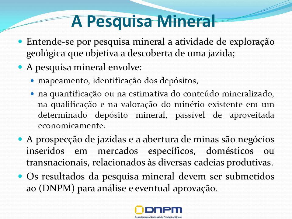 A Pesquisa Mineral Entende-se por pesquisa mineral a atividade de exploração geológica que objetiva a descoberta de uma jazida;