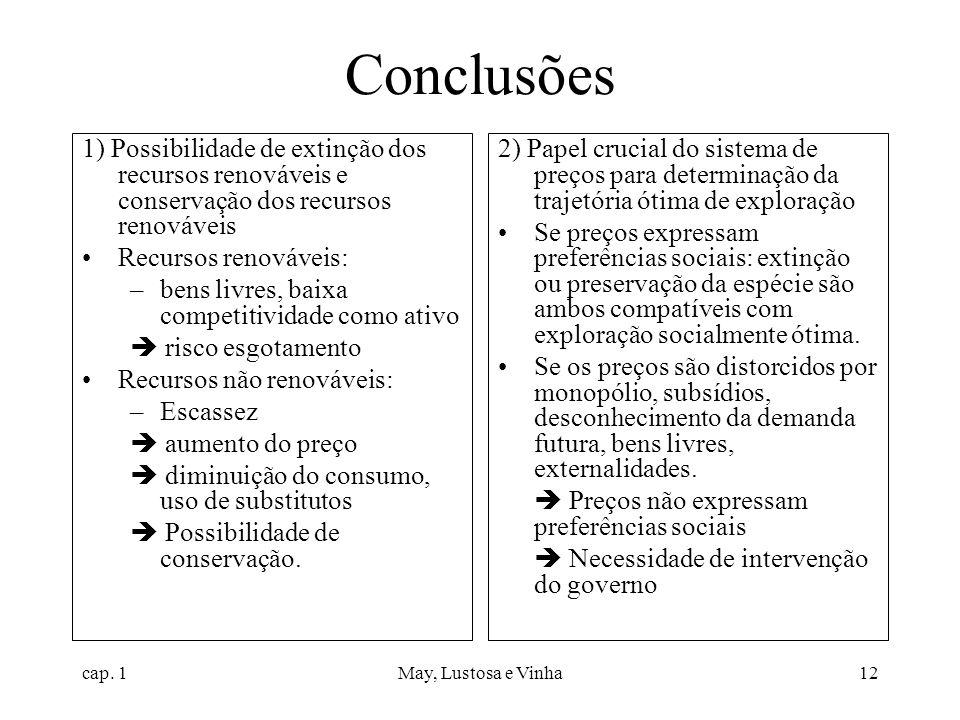 Conclusões 1) Possibilidade de extinção dos recursos renováveis e conservação dos recursos renováveis.