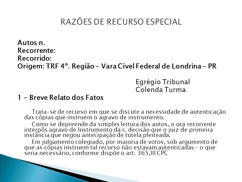 RAZÕES DE RECURSO ESPECIAL