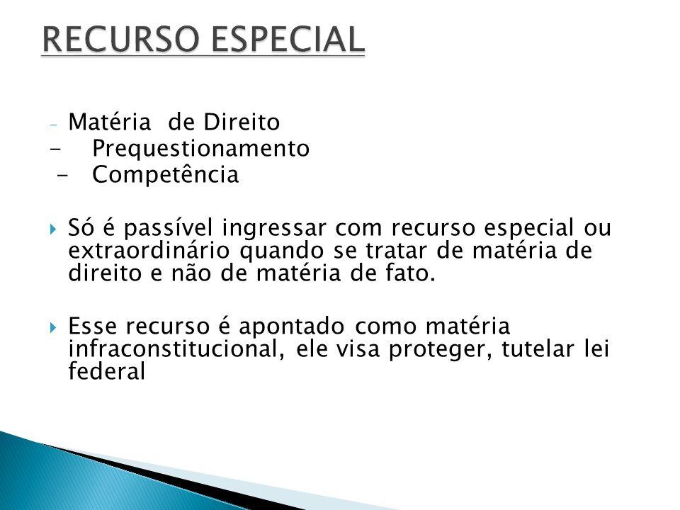RECURSO ESPECIAL Matéria de Direito - Prequestionamento - Competência